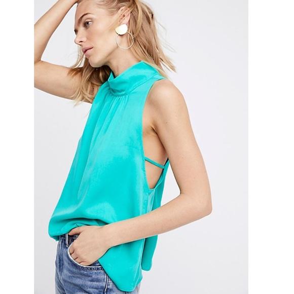 Free People Womens Palm Breeze Mock-Neck Sleeveless Blouse Top